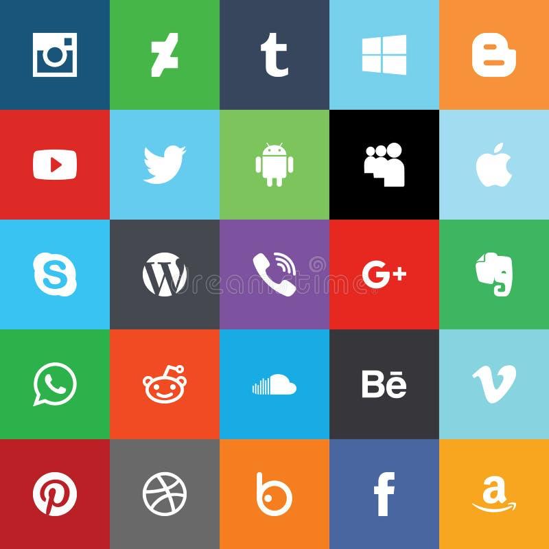 Ogólnospołeczne medialne płaskie ikony wektor royalty ilustracja
