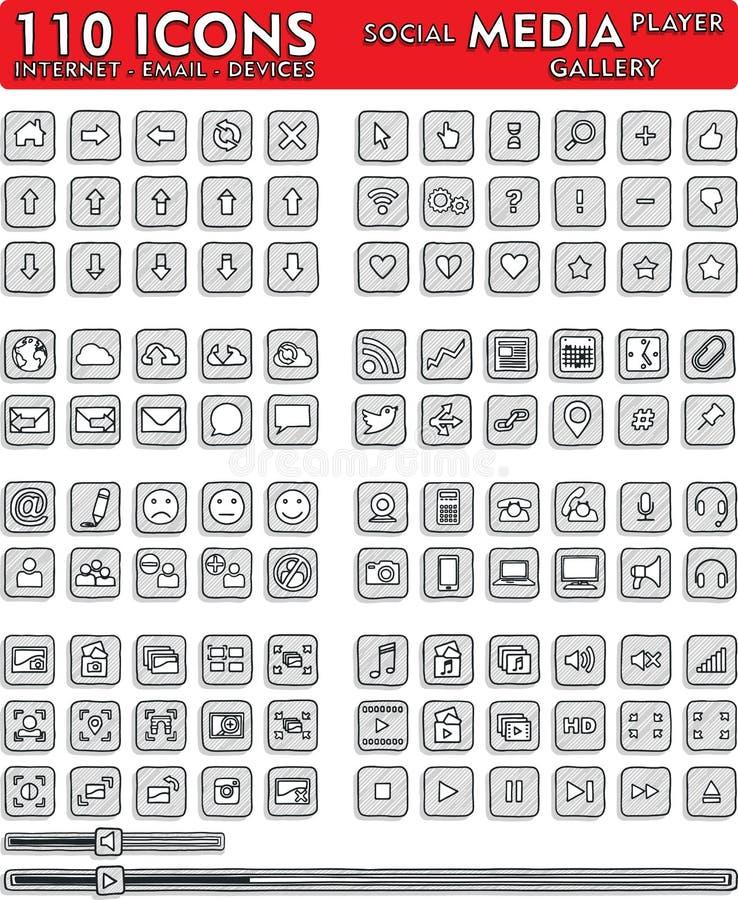 Ogólnospołeczne Medialne pociągany ręcznie ikony - 110 ikon Ustawiających ilustracji