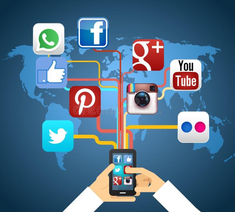 Ogólnospołeczne sieci ilustracja wektor