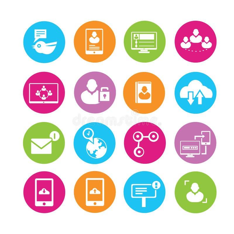 Ogólnospołeczne sieci ikony ilustracji