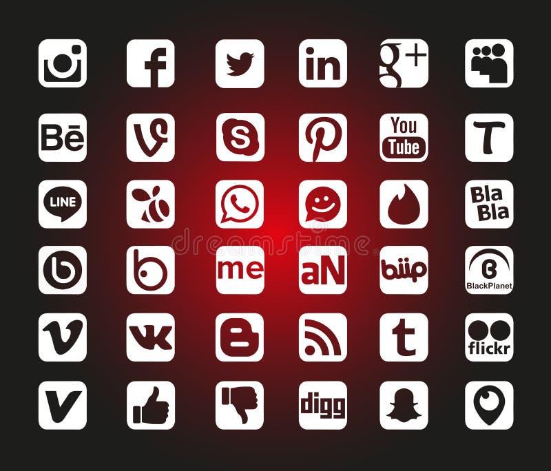 Ogólnospołeczne sieci ikony ilustracja wektor