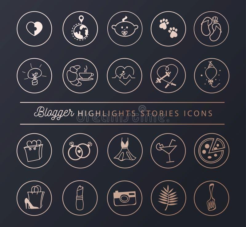 Ogólnospołeczne sieci ikony ustawiać dla opowieści głównych atrakcji w szyku projektują Blogger styl życia ikony kolekcja r?wnie? ilustracja wektor