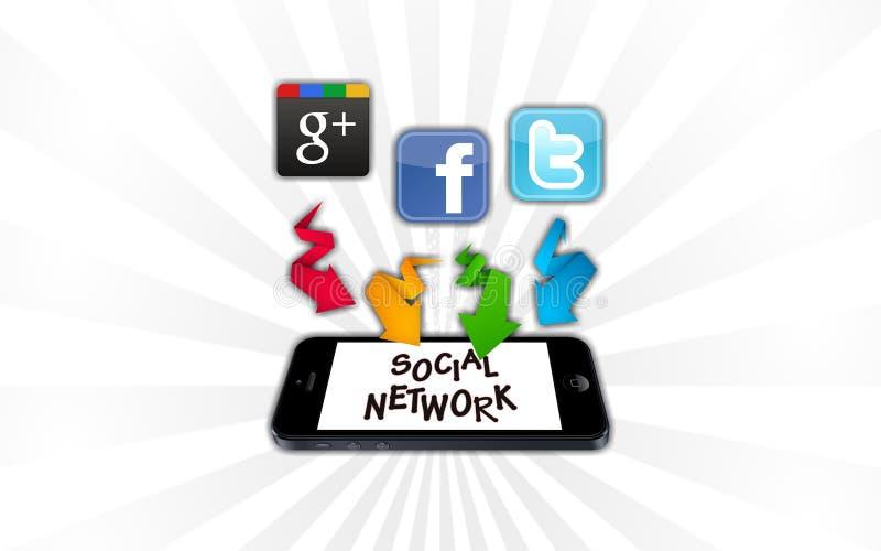 Ogólnospołeczne sieci na smartphone royalty ilustracja