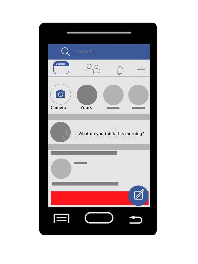 Ogólnospołeczne sieci, początek strona, wiadomości karma, homepage, fb ilustracji