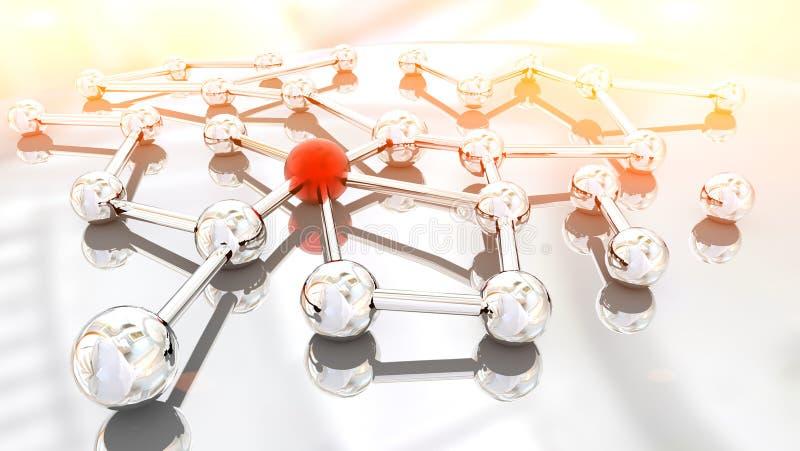 Ogólnospołeczne związek sieci sfery łączyli tło - 3d renering ilustracja wektor