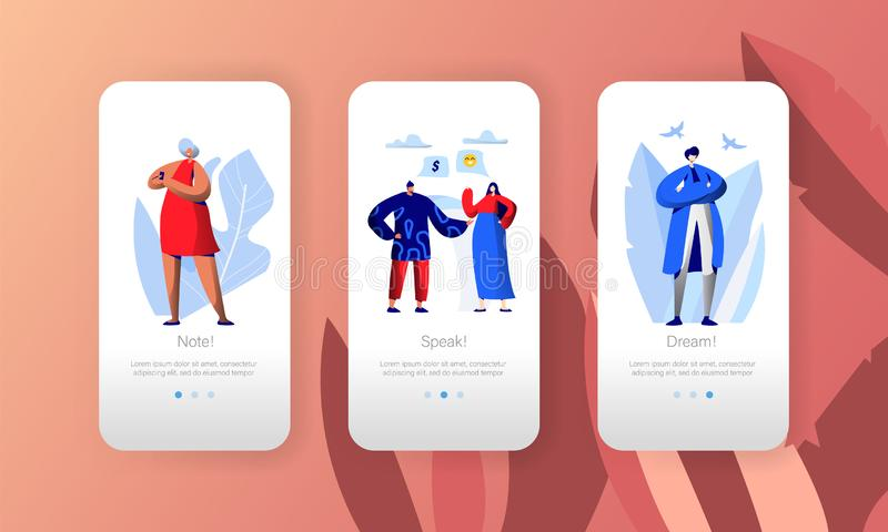 Ogólnospołecznego Medialnego sieć biznesu profilu charakteru App Mobilna strona Na ekranu secie Ludzie komentarza Digital bloga ilustracja wektor