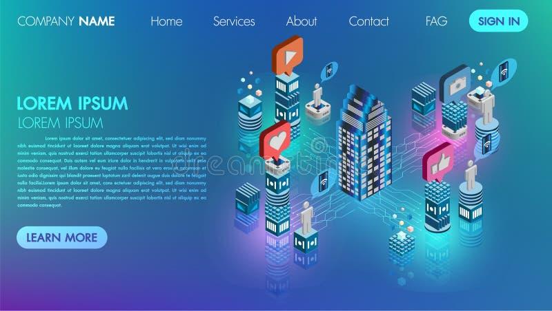 Ogólnospołecznego medialnego sieci mieszkania 3d isometric pojęcia wektorowa ikona z technologią łączy baza danych cyber procesu  ilustracji