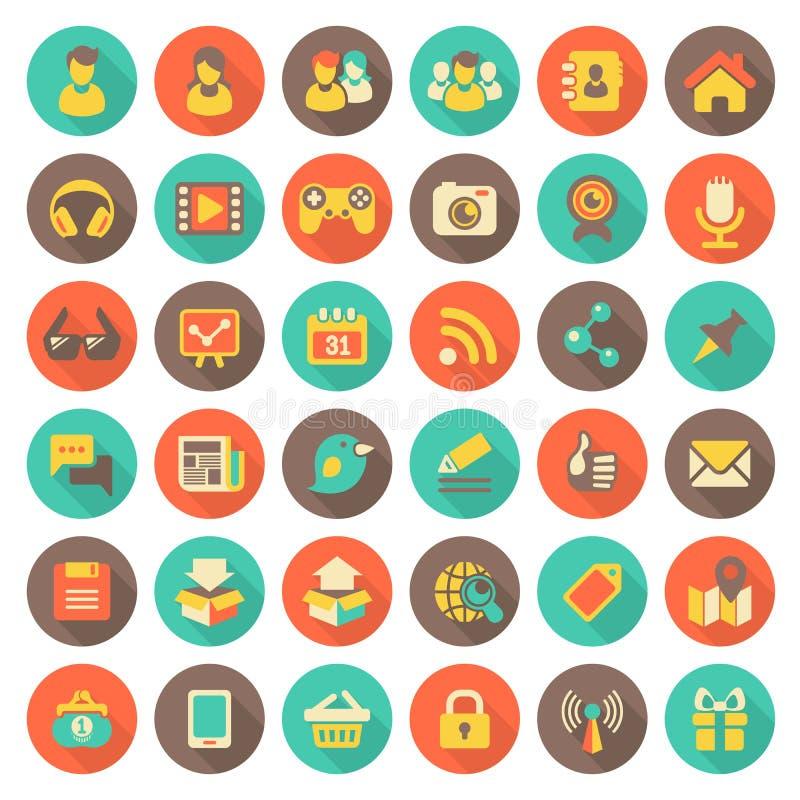 Ogólnospołecznego networking Płaskie Round ikony z Długimi cieniami ilustracji