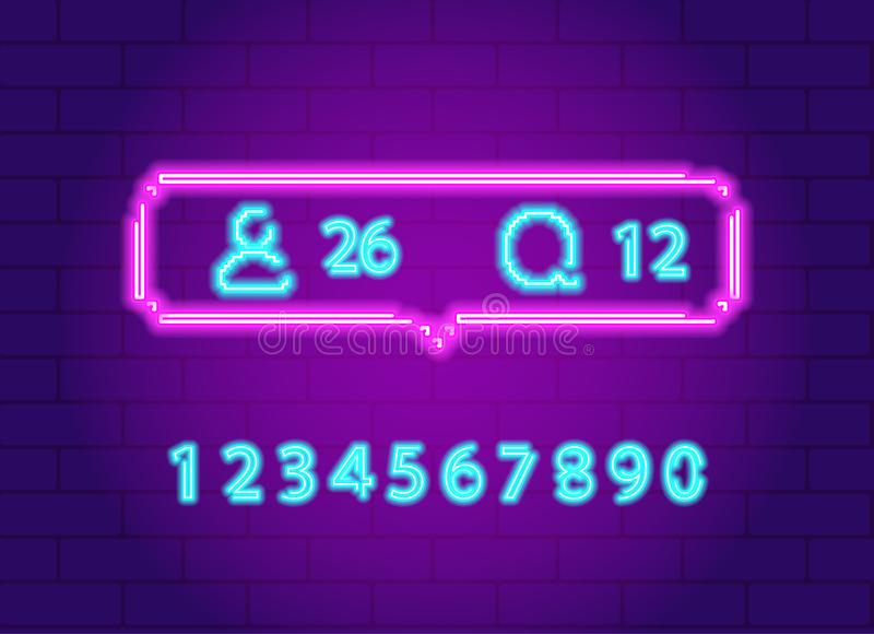 Ogólnospołecznego sieci powiadomienia ikony paczki neonowy set ilustracja wektor