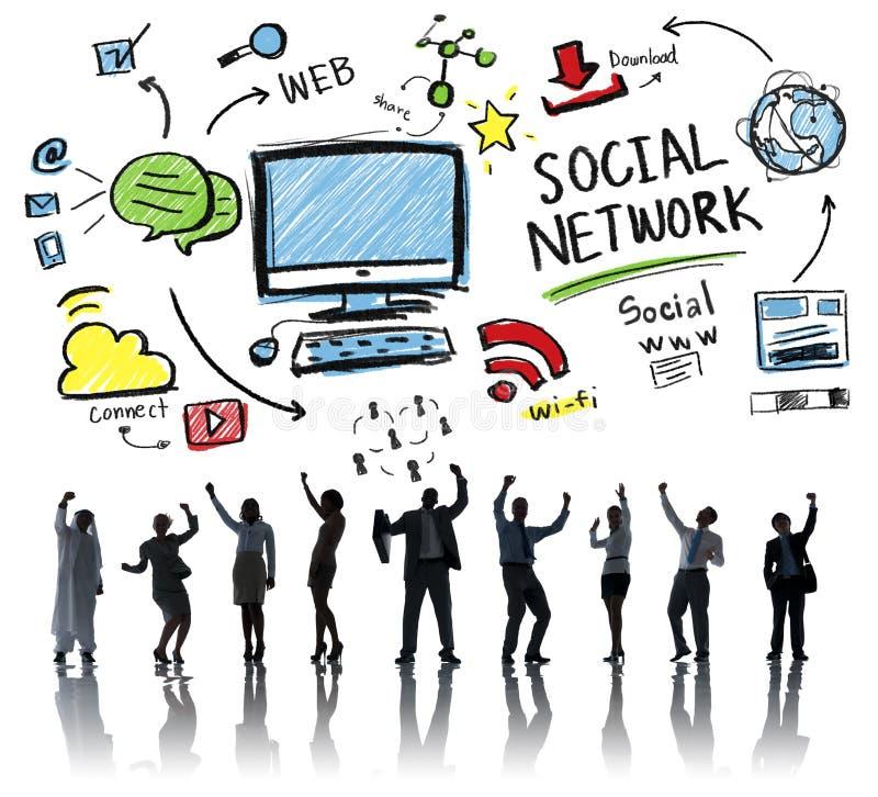 Ogólnospołecznej sieci świętowania pojęcia Ogólnospołeczni Medialni ludzie biznesu ilustracja wektor