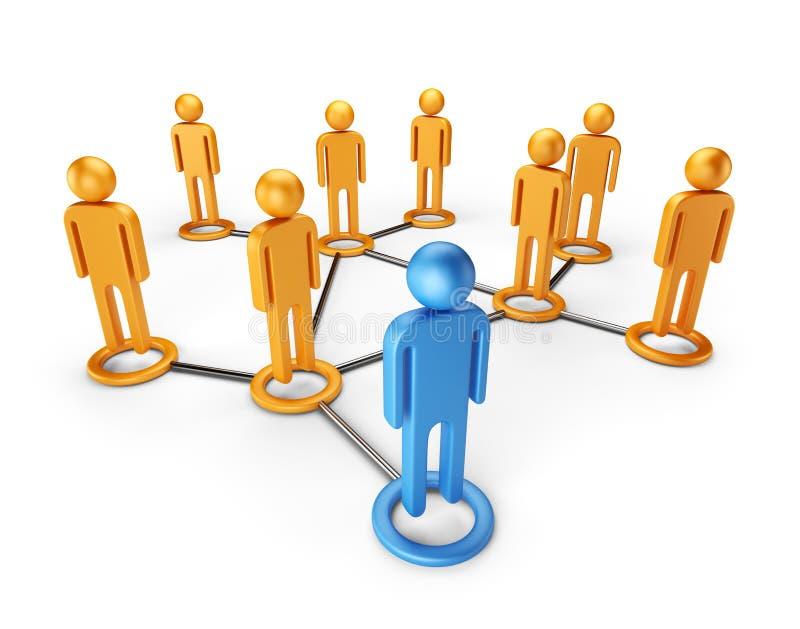 Ogólnospołecznej sieci globalna społeczność. 3D   ilustracji