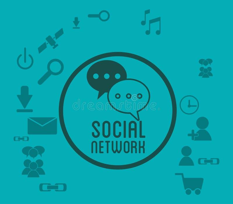 Ogólnospołecznej sieci ikon odznaki zieleni medialny tło royalty ilustracja