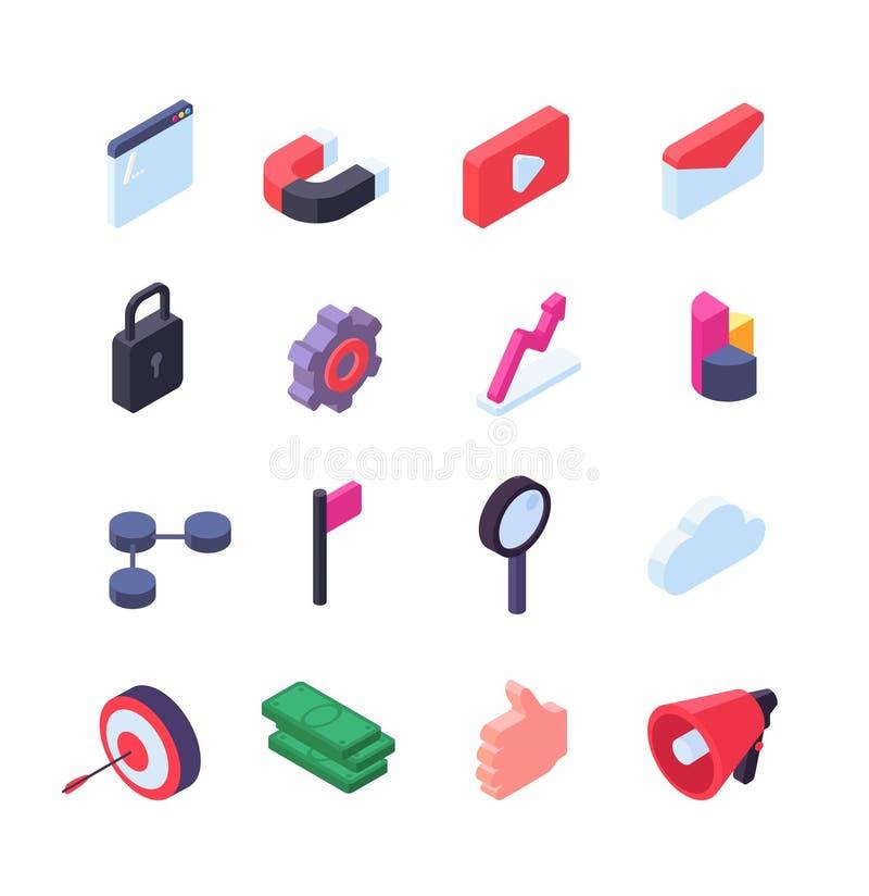 Ogólnospołecznej sieci isometric ikony Środki i seo marketingowa sieć zapinają wektorową kolekcję odizolowywającą ilustracja wektor
