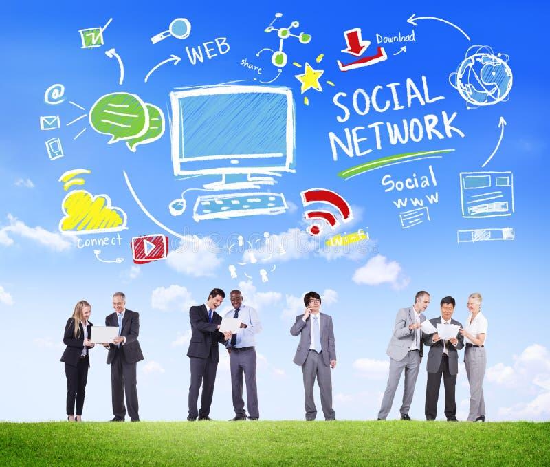 Ogólnospołecznej sieci komunikaci biznesowej Ogólnospołeczny Medialny pojęcie obrazy stock