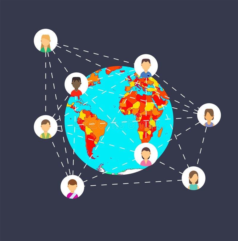 Ogólnospołecznej sieci medialny podłączeniowy biznesowy marketing Technologii ikony interneta wektor Ludzie grupują app pojęcia s ilustracji