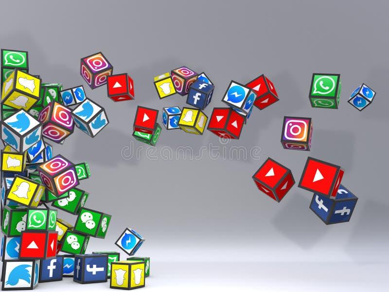 Ogólnospołecznej sieci popielaty tło ilustracja wektor