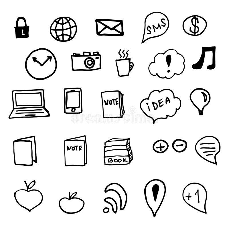 Ogólnospołeczni środków Doodles elementy ilustracji