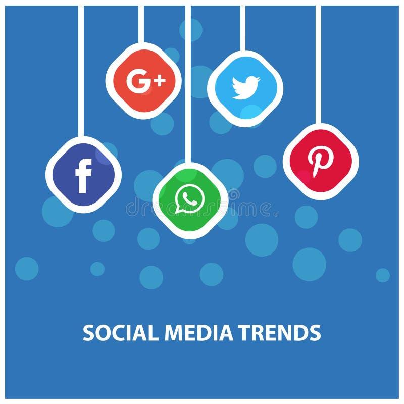 Ogólnospołeczni środków trendy Wiesza sztandar ilustracji