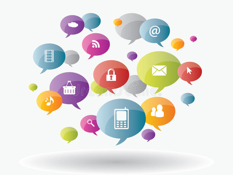 Ogólnospołeczni środki i interneta biznes ilustracja wektor