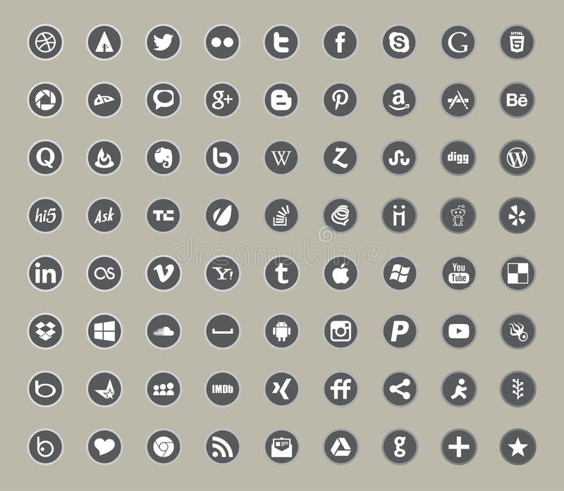 Ogólnospołeczni środki i sieć koloru mieszkania ikony ilustracji