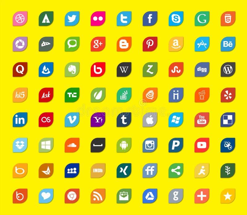 Ogólnospołeczni środki i sieć koloru mieszkania ikony royalty ilustracja