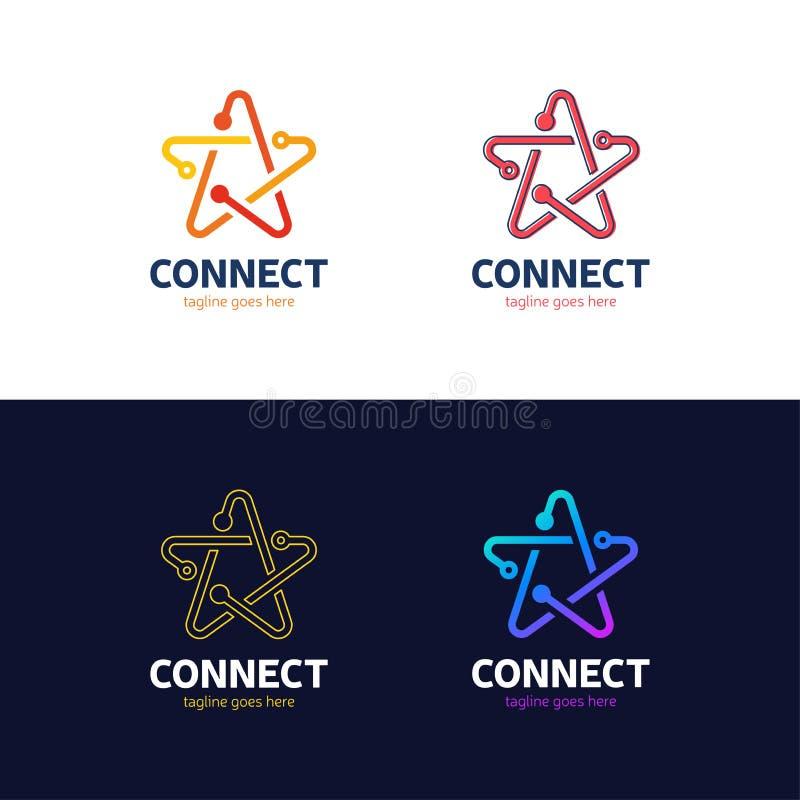 Ogólnospołeczni środki, internet, ludzie łączą gwiazdowego logotyp sieci jazia ilustracji