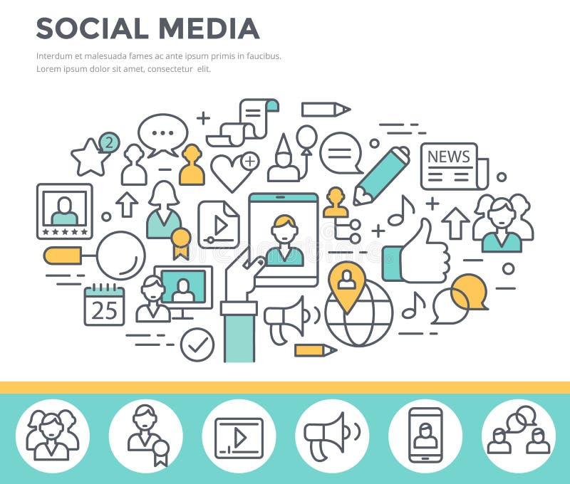 Ogólnospołeczni środki, komunikacyjna pojęcie ilustracja ilustracja wektor