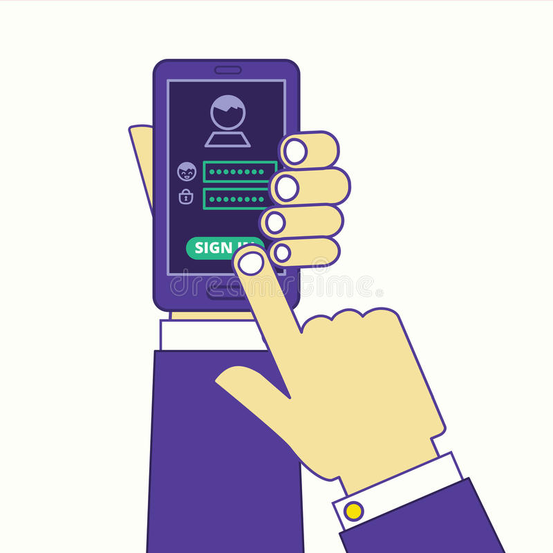 Ogólnospołeczni środki lub interneta miejsce podpisują wewnątrz przez smartphone Nazwa użytkownika i ilustracja wektor