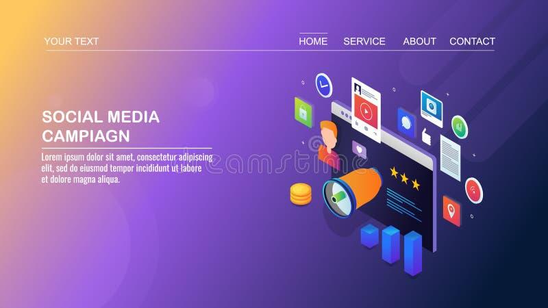 Ogólnospołeczni środki prowadzą kampanię, cyfrowy marketing, strony internetowej promocja, cyfrowi środki i zadowolona reklama, i ilustracja wektor