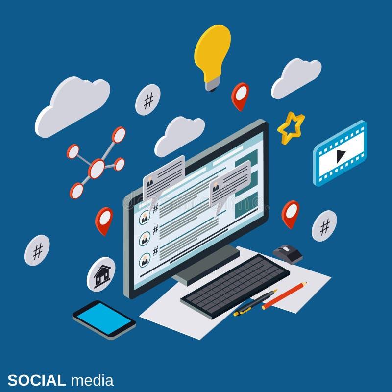 Ogólnospołeczni środki, sieć, globalne komunikacje, żyją gadka wektoru pojęcie ilustracji