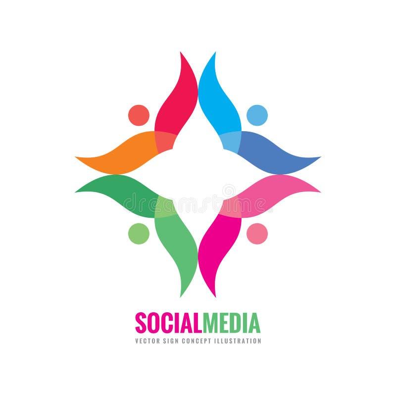 Ogólnospołeczni środki - wektorowa loga szablonu pojęcia ilustracja Ludzie komunikacyjnego kreatywnie znaka Abstrakcjonistyczny k ilustracji