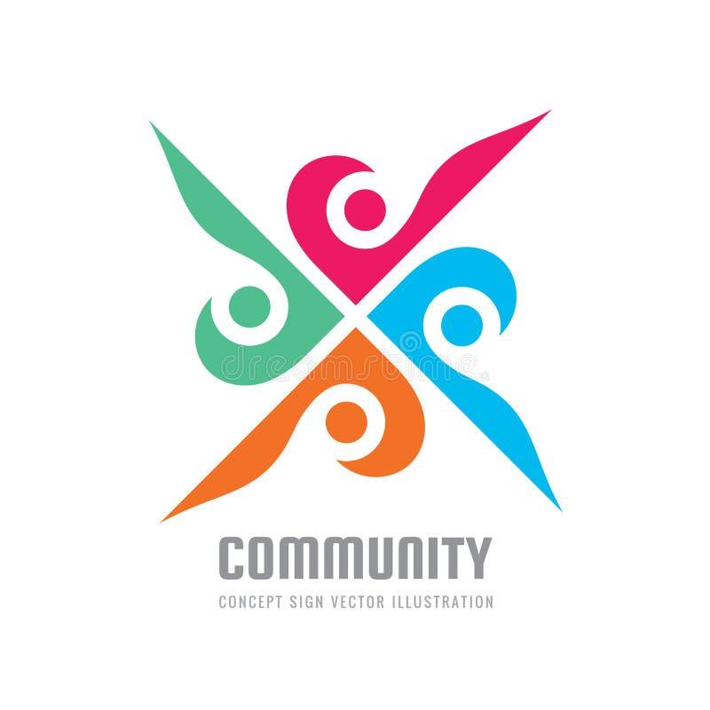 Ogólnospołeczni środki - wektorowa loga szablonu pojęcia ilustracja ludzki charakter ludzie znaków Abstrakcjonistyczny symbol ele ilustracji