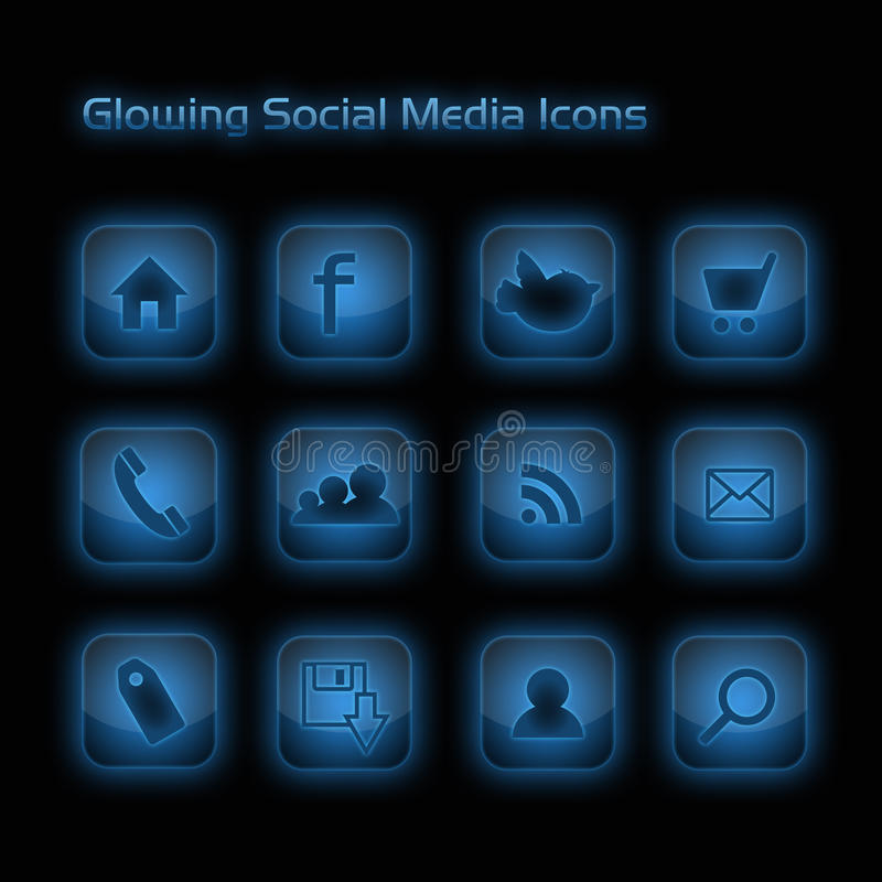 ogólnospołeczni ikona błękitny rozjarzeni środki ilustracja wektor