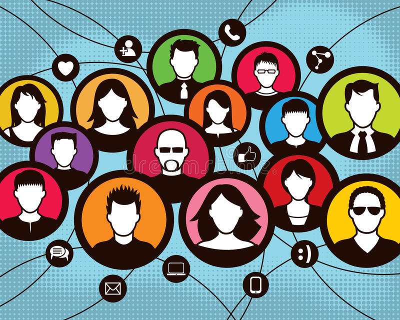 Ogólnospołeczni komunikaci grupy ludzie ilustracji