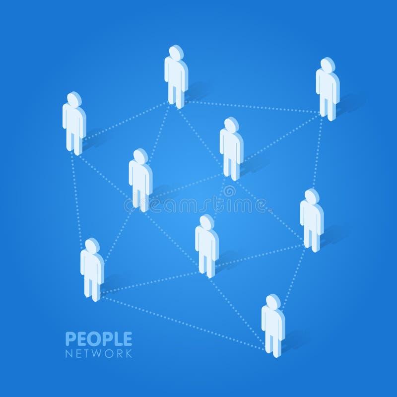 Ogólnospołeczni ludzie sieci pojęcia isometric wektorowej ilustraci ilustracji