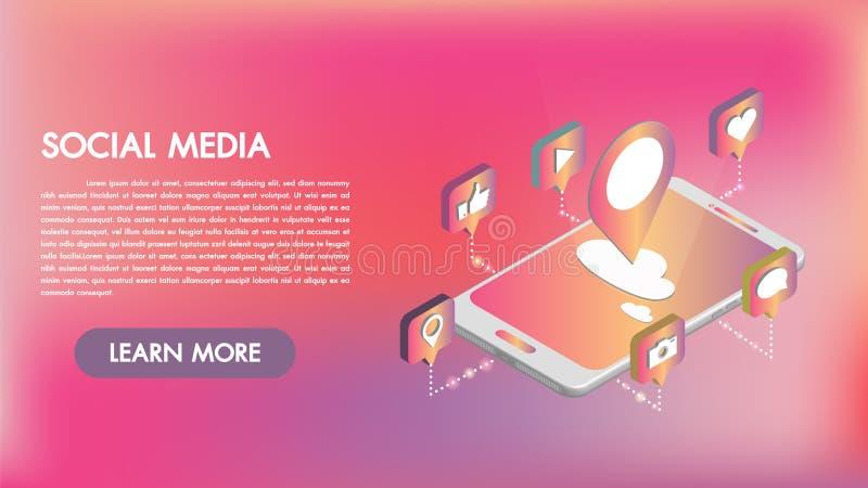Ogólnospołeczni medialni apps na 3d smartphone isometric ikonach Mobilnych apps mądrze technologia Tworzący Dla wiszącej ozdoby,  ilustracji