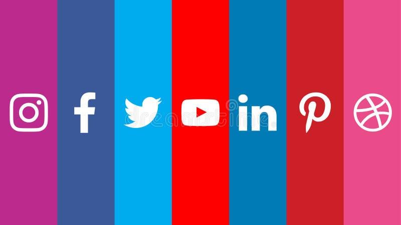 Ogólnospołeczni Medialni logo Facebook Twitter Youtube Instagram Pinterest ilustracja wektor
