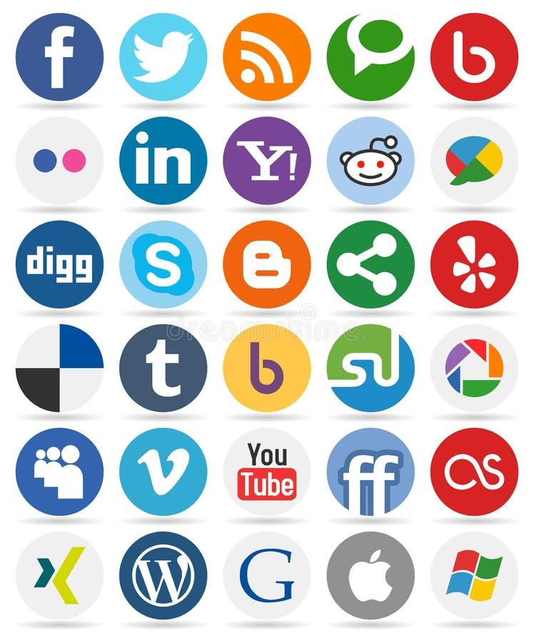 Ogólnospołeczni Medialni Round guziki z ikonami [1] royalty ilustracja
