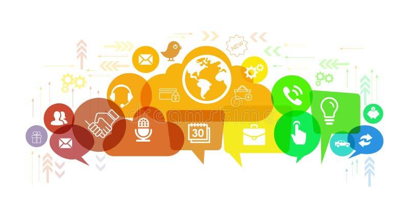 Ogólnospołeczni medialni sieci mowy i rozmowy bąble ilustracyjni royalty ilustracja