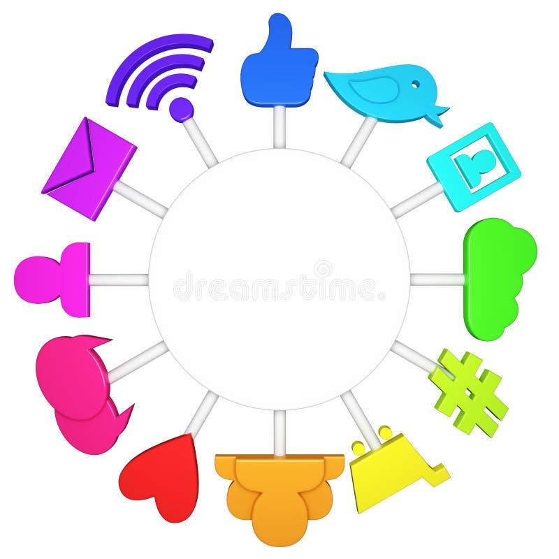 Ogólnospołeczni medialni symbole royalty ilustracja