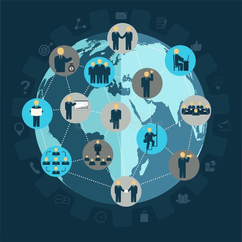 Ogólnospołeczni networking ludzie biznesu ilustracja wektor