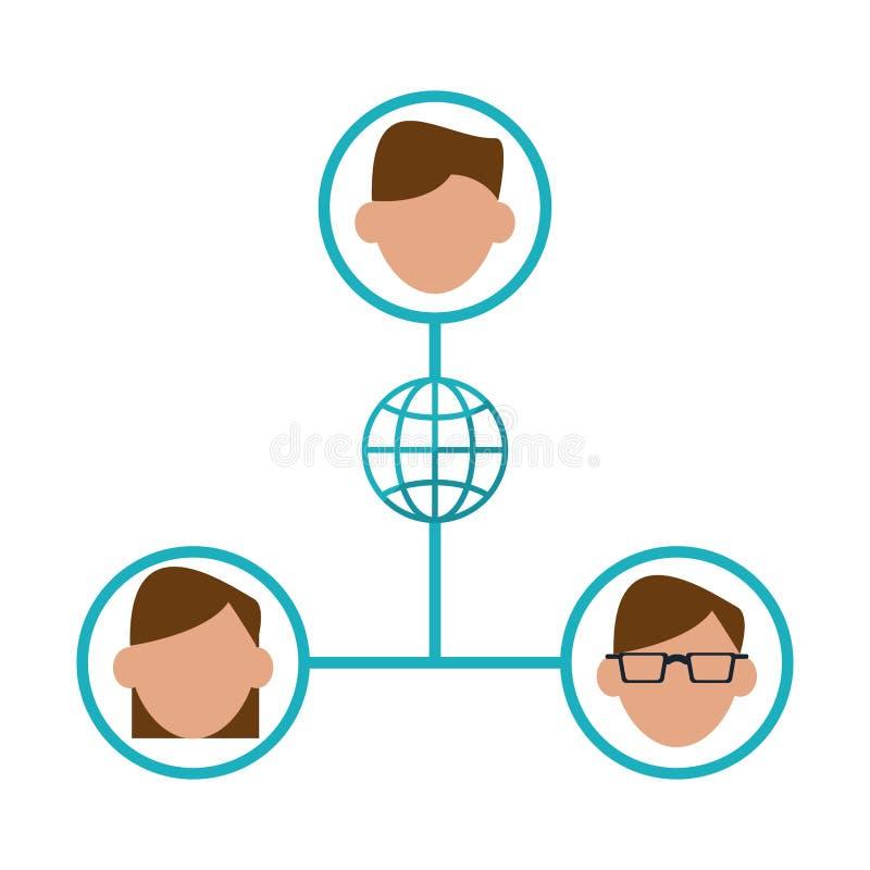 Ogólnospołeczni networking twarzy ludzie ilustracja wektor