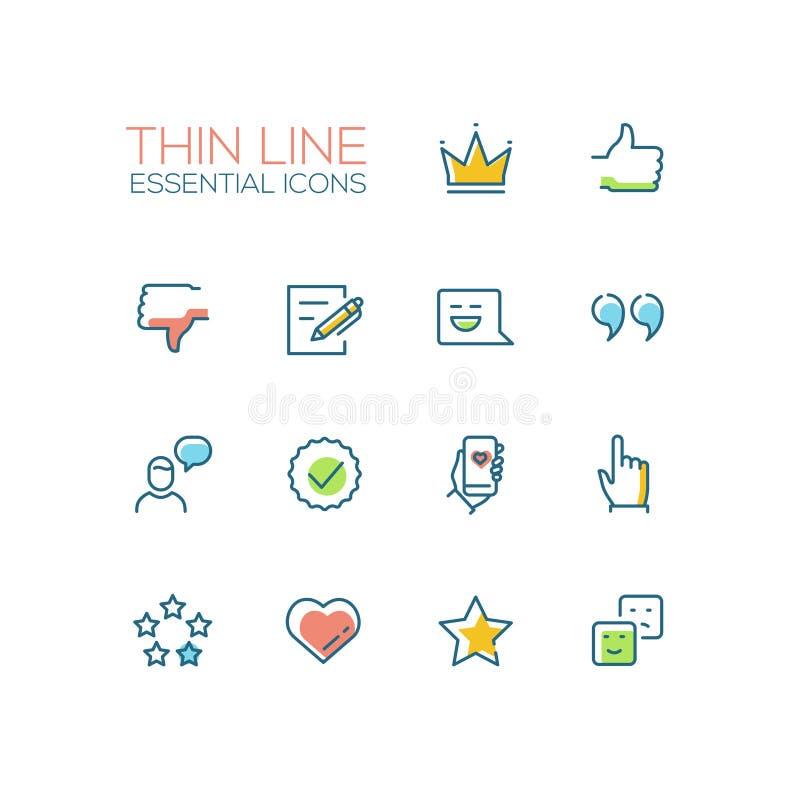 Ogólnospołeczni sieć znaki - Cienieje Kreskowe ikony Ustawiać ilustracja wektor