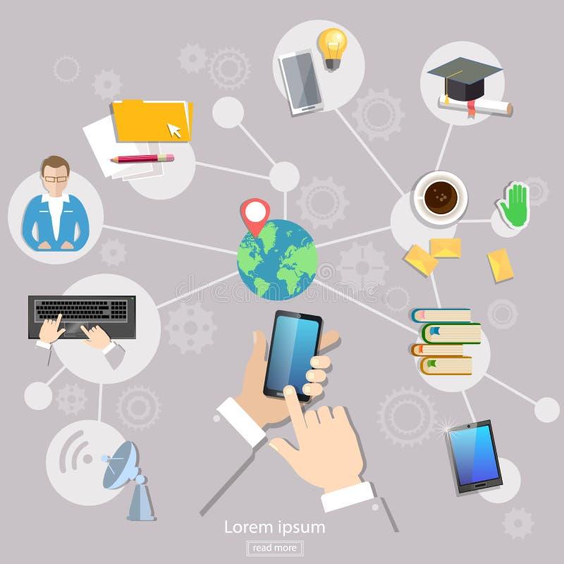 Ogólnospołeczni sieci geolocation komunikaci ucznia ludzie ilustracja wektor
