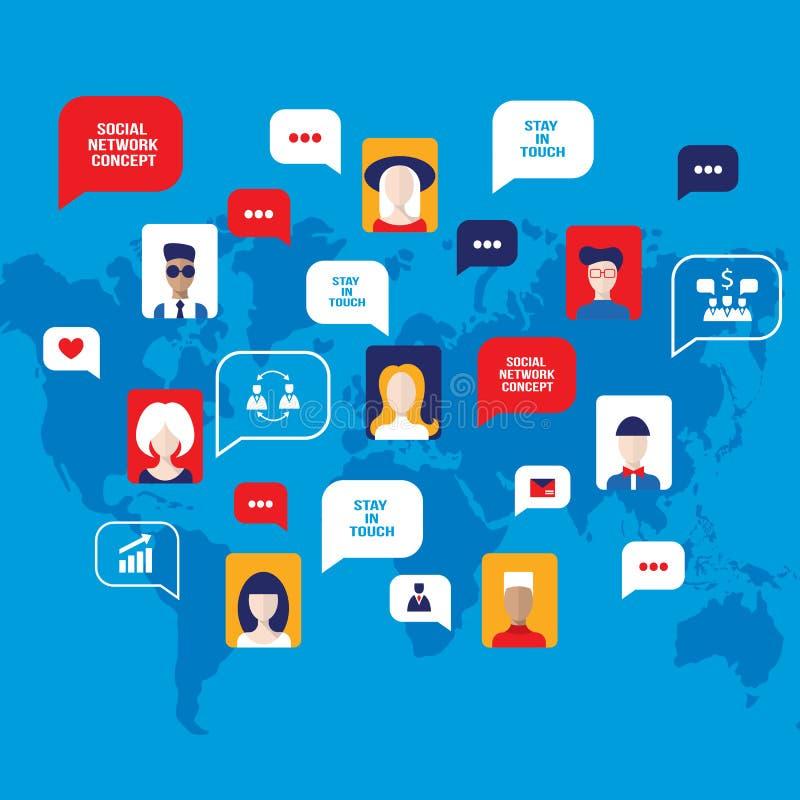 Ogólnospołeczni sieci pojęcia avatars z mową ludzie gulgoczą biznesowe ikony dla sieci na światowej mapy tle royalty ilustracja