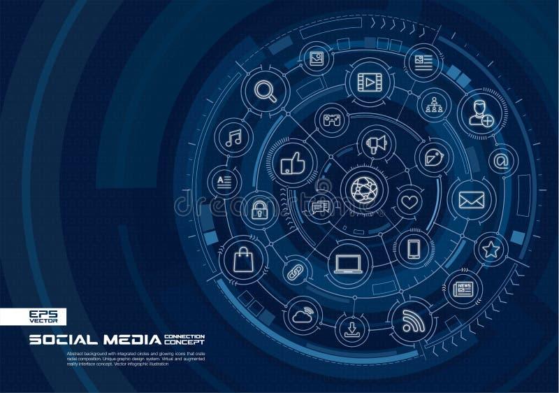 ogólnospołeczni tło abstrakcjonistyczni środki Digital łączy system z zintegrowanymi okręgami, rozjarzonymi cienieje kreskowe iko ilustracja wektor