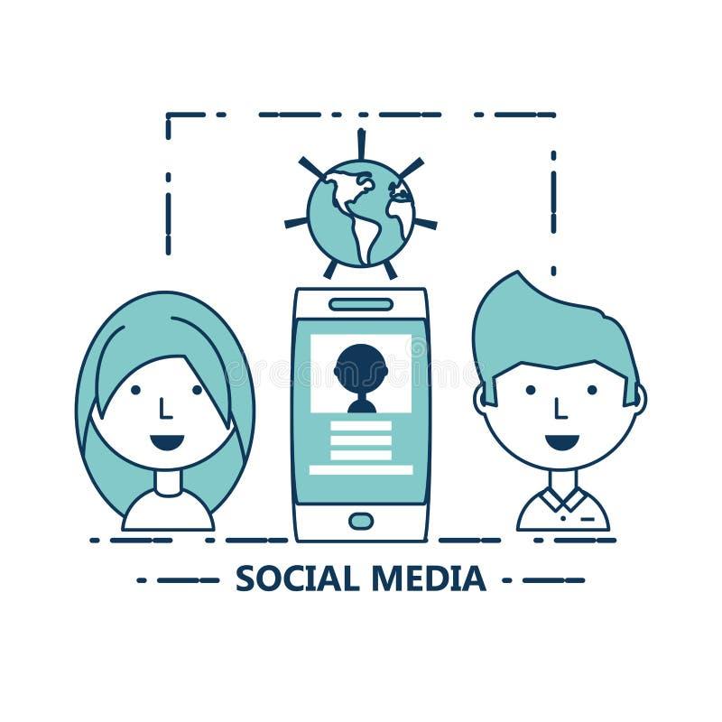 Ogólnospołeczny środka projekt ilustracji