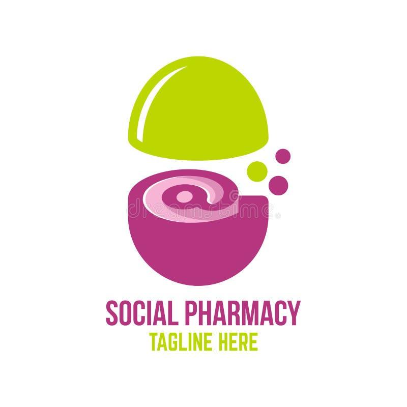 Ogólnospołeczny apteka logo również zwrócić corel ilustracji wektora ilustracji