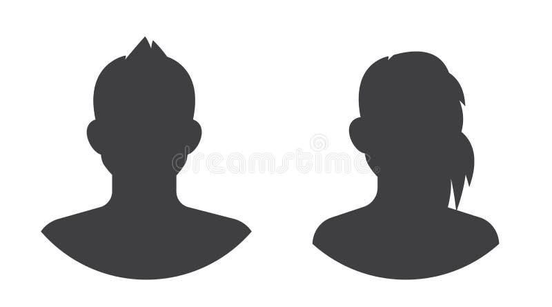 Ogólnospołeczny avatar sylwetki ikony set, odosobniony wektorowy wizerunek ilustracji