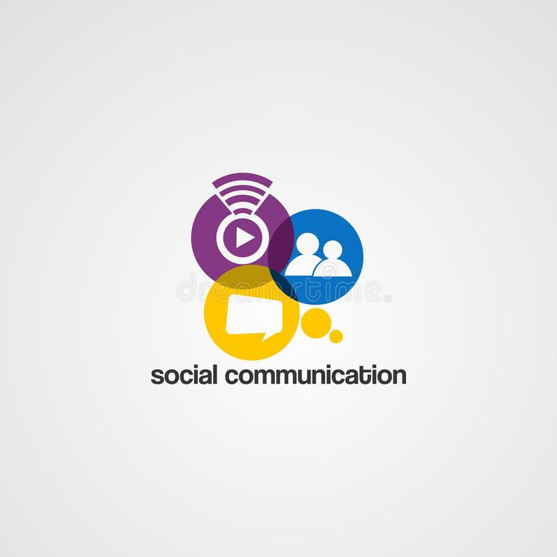 Ogólnospołeczny komunikacyjny logo wektor, ikona, element i szablon dla firmy, royalty ilustracja